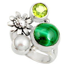 925 silver 6.76cts natural green malachite round flower ring size 6.5 r22644