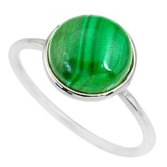 925 silver 5.37cts natural green malachite round solitaire ring size 9 r81665