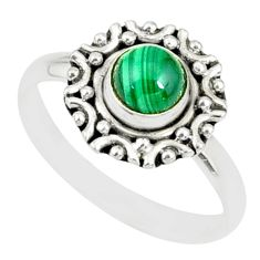 925 silver 1.16cts natural green malachite round solitaire ring size 9 r82108