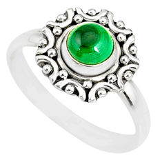 925 silver 1.13cts natural green malachite round solitaire ring size 9 r82112