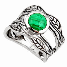 925 silver 3.01cts natural green malachite solitaire leaf ring size 7.5 r36976