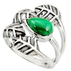 925 silver 2.00cts natural green malachite solitaire leaf ring size 7 r37073