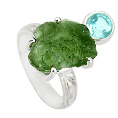 925 silver 8.54cts natural green moldavite (genuine czech) ring size 7 r38345