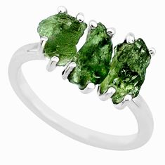 925 silver 8.33cts natural green moldavite (genuine czech) ring size 8 r71984
