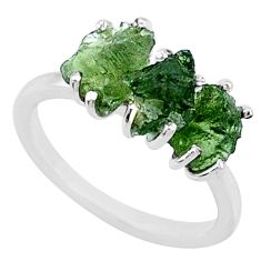 925 silver 8.33cts natural green moldavite (genuine czech) ring size 8 r71986