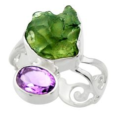 925 silver 7.04cts natural green moldavite amethyst solitaire ring size 7 r29490