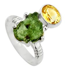 925 silver 8.18cts natural green moldavite citrine solitaire ring size 8 r29485