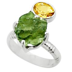 925 silver 9.65cts natural green moldavite citrine solitaire ring size 8 r29511