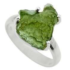 925 silver 6.75cts natural green moldavite fancy solitaire ring size 8.5 r29429