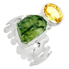 925 silver 7.79cts natural green moldavite fancy solitaire ring size 6 r29498