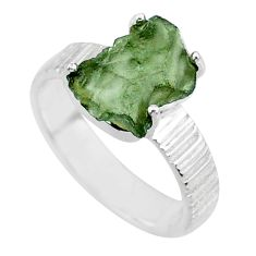 925 silver 5.57cts natural green moldavite fancy solitaire ring size 6 r71820