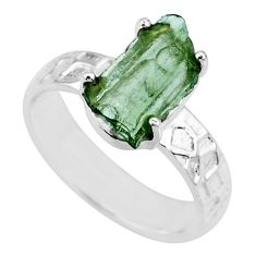 925 silver 5.57cts natural green moldavite fancy solitaire ring size 6 r71831