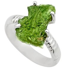 925 silver 6.72cts natural green moldavite fancy solitaire ring size 7 r29457