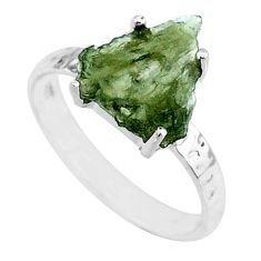 925 silver 3.70cts natural green moldavite fancy solitaire ring size 7 r71840