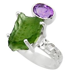 925 silver 8.77cts natural green moldavite fancy solitaire ring size 8 r29517
