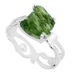925 silver 4.85cts natural green moldavite fancy solitaire ring size 8 r71812