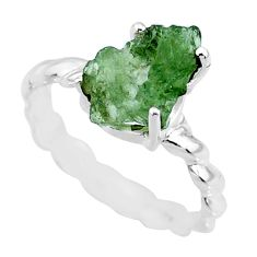 925 silver 4.47cts natural green moldavite fancy solitaire ring size 8 r71816