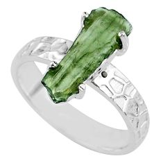 925 silver 6.22cts natural green moldavite fancy solitaire ring size 8 r71834