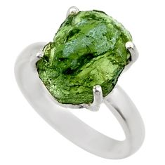925 silver 7.02cts natural green moldavite fancy solitaire ring size 9 r29444