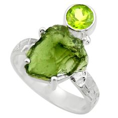 925 silver 8.54cts natural green moldavite peridot solitaire ring size 9 r29494