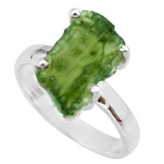 925 silver 7.88cts natural green moldavite solitaire ring size 9 r29480