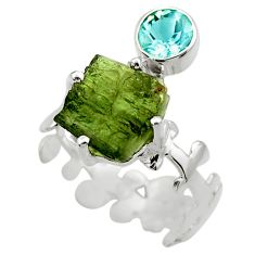 925 silver 7.54cts natural green moldavite topaz solitaire ring size 7.5 r29507