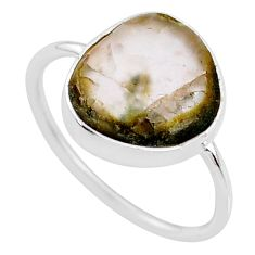925 silver 4.34cts natural green moss agate solitaire ring jewelry size 9 r70955