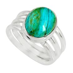 925 silver 5.01cts natural green opaline solitaire ring jewelry size 8.5 r19400