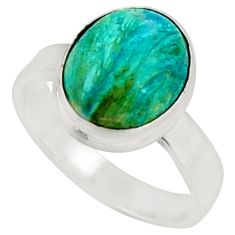 925 silver 5.38cts natural green opaline solitaire ring jewelry size 8 r22548