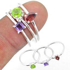 925 silver 2.98cts natural green peridot amethyst garnet 3 rings size 7 t51179