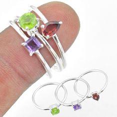925 silver 3.14cts natural green peridot amethyst garnet 3 rings size 8 t51072
