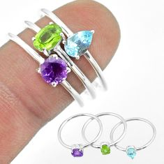 925 silver 2.97cts natural green peridot amethyst topaz 3 rings size 8 t51038