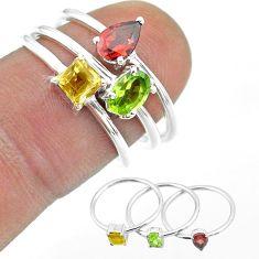 925 silver 2.81cts natural green peridot citrine garnet 3 rings size 7 t51176