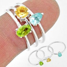 925 silver 2.82cts natural green peridot citrine topaz 3 rings size 7 t17714