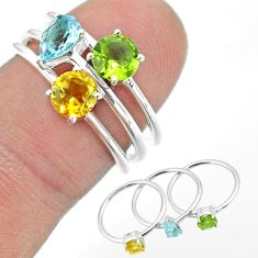 925 silver 2.98cts natural green peridot citrine topaz 3 rings size 7 t51097