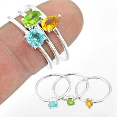 925 silver 2.98cts natural green peridot citrine topaz 3 rings size 8 t51064