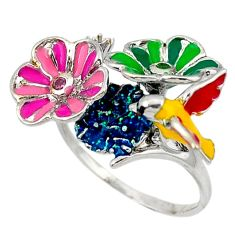 925 silver natural green peridot kunzite (lab) flower ring jewelry size 9 c16776