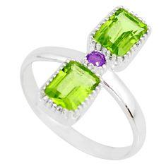 925 silver 3.32cts natural green peridot octagan amethyst ring size 6 r77208