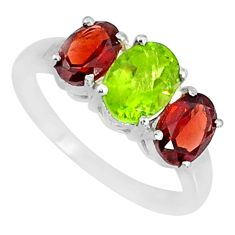 925 silver 5.17cts natural green peridot oval red garnet ring size 8 r84077