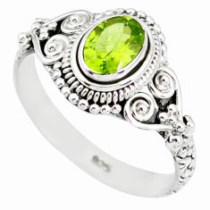 925 silver 1.51cts natural green peridot oval solitaire ring size 8.5 r85524