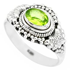 925 silver 1.49cts natural green peridot oval solitaire ring size 9 r85548