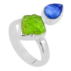 925 silver 7.97cts natural green peridot raw fancy kyanite ring size 7 t48943