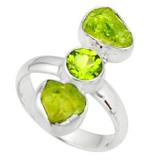 925 silver 9.99cts natural green peridot rough fancy peridot ring size 8 r51738