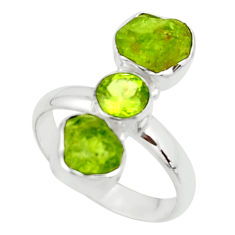 925 silver 11.19cts natural green peridot rough peridot ring size 9 r51736