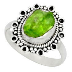 925 silver 4.22cts natural green peridot rough solitaire ring size 8.5 r52364