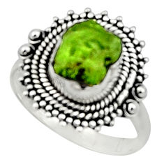 925 silver 4.40cts natural green peridot rough solitaire ring size 8.5 r52377