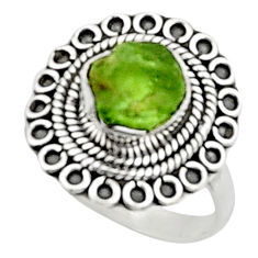 925 silver 4.40cts natural green peridot rough solitaire ring size 7.5 r52391
