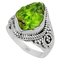 925 silver 5.87cts natural green peridot rough solitaire ring size 6.5 r53389