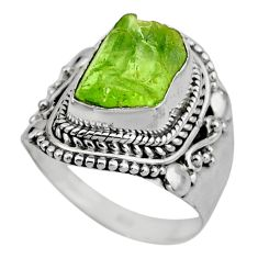 925 silver 5.93cts natural green peridot rough solitaire ring size 7.5 r53396
