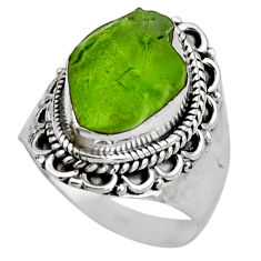 925 silver 6.31cts natural green peridot rough solitaire ring size 7.5 r53399